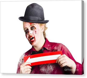 Zombie Woman Giving Directions Canvas Print by Jorgo Photography - Wall Art Gallery