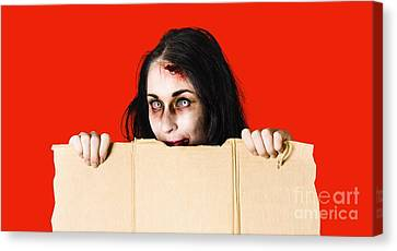 Cardboard Canvas Print - Zombie Woman Peering Out Cardboard Box by Jorgo Photography - Wall Art Gallery