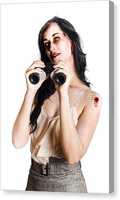 Zombie Woman With Binoculars Canvas Print