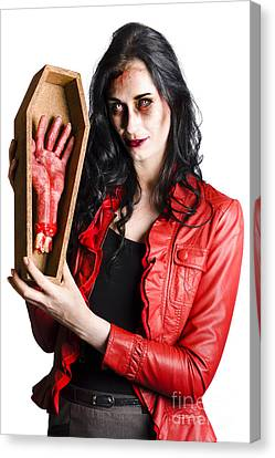 Ghostly Canvas Print - Zombie Woman With Coffin And Severed Hand by Jorgo Photography - Wall Art Gallery