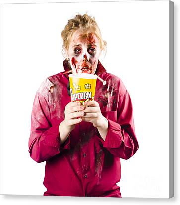Zombie Woman With Popcorn Canvas Print