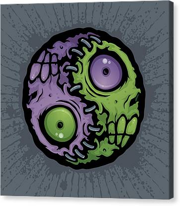 Zombie Yin-yang Canvas Print by John Schwegel