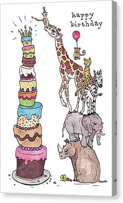 Zoo Animals Happy Birthday Card Canvas Print by Katrina Davis