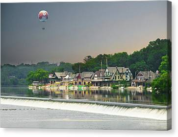 Canvas Print featuring the photograph Zoo Balloon Flying Over Boathouse Row by Bill Cannon