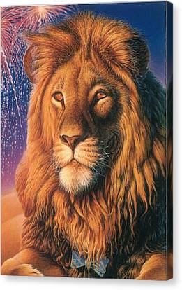 Zoofari Poster The Lion Canvas Print by Hans Droog