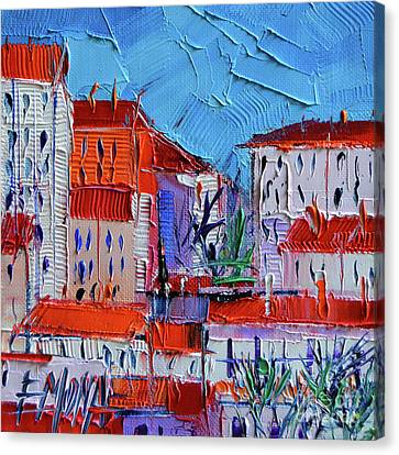 Zoom On Croix-rousse - Lyon France - Palette Knife Oil Painting By Mona Edulesco Canvas Print by Mona Edulesco