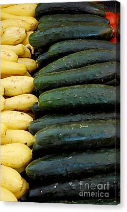 Zucchini On Display At Farmers Market 3 Canvas Print by Micah May