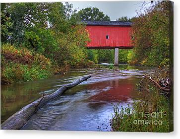 Zumbrota Minnesota Historic Covered Bridge 5 Canvas Print by Wayne Moran