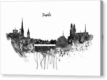 Zurich Black And White Skyline Canvas Print by Marian Voicu