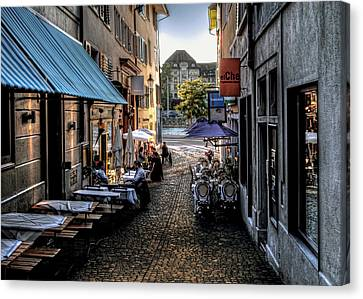 Zurich Old Town Cafe Canvas Print by Jim Hill