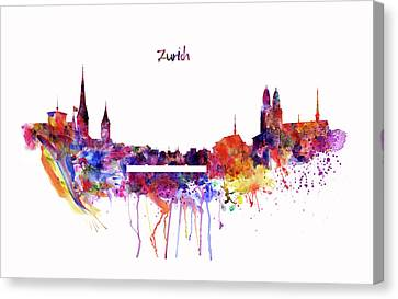 Zurich Skyline Canvas Print by Marian Voicu