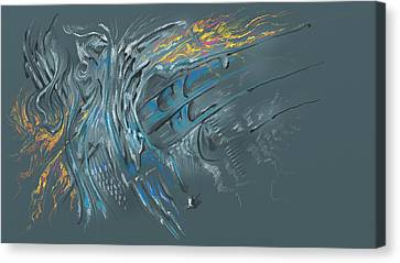 Canvas Print featuring the digital art Zuul Azul by Keith A Link