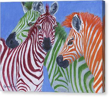 Canvas Print featuring the painting Zzzebras by Jamie Frier