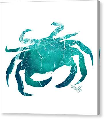 Canvas Print featuring the digital art Art Sea Crab In Turquoise by Micki Findlay