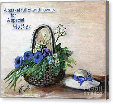 Basket Of Wild Flowers For Mother Canvas Print