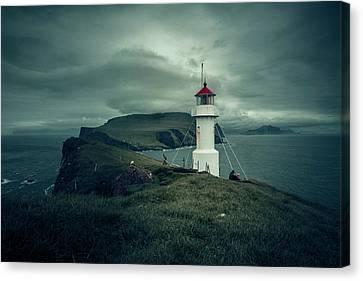 Lighthouse In Mykines Faroe Canvas Print