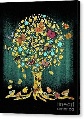 Tree Of Life Teal Canvas Print