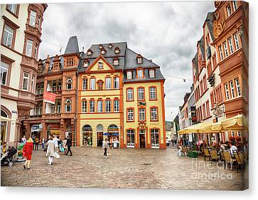 Canvas Print featuring the photograph Trier, Germany,  People By Market Day by Ariadna De Raadt