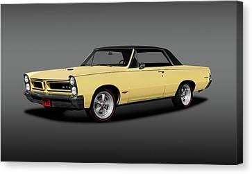 1965 Pontiac Gto Coupe  -  1965pontiacgtohdtpgray196775 Canvas Print by Frank J Benz