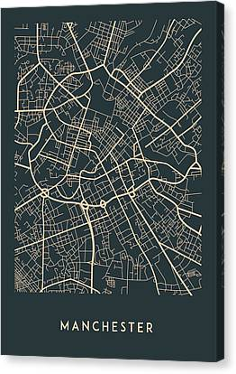 Manchester Map Canvas Print