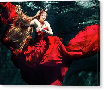 Female Dancer Performing Under Water Canvas Print