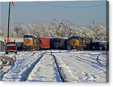 Canvas Print featuring the photograph 3 Trains In The Snow by Joseph C Hinson Photography