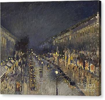 The Boulevard Montmartre At Night Canvas Print