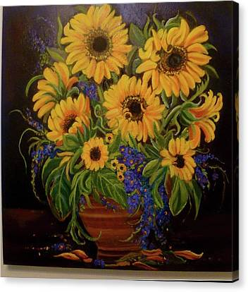 A Bouquet Of Sunflowers Canvas Print by Janet Silkoff