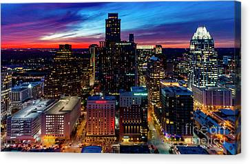 A Gorgeous Fiery Sunset Engulfs The Sky Over The Downtown Austin Canvas Print