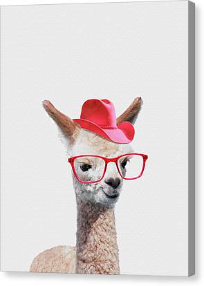 Adorable Alpaca Wearing Red Glasses And A Cowboy Hat. Canvas Print