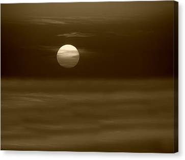Canvas Print featuring the photograph Aegean Sunset In Sepia by Micki Findlay