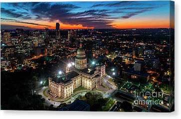 Aerial Image Of Vibrant Orange And Soft Blues In A Dramatic Sky  Canvas Print