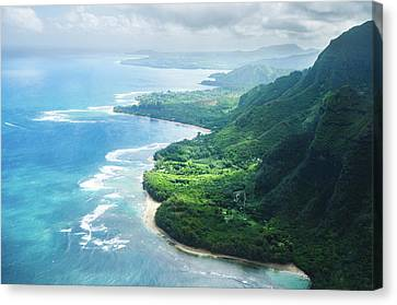 Aerial View Of The Abrupt And Green Napali Coast In Kauai, Us Canvas Print