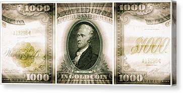 Alexander Hamilton 1907 American One Thousand Dollar Bill Currency Triptych Canvas Print