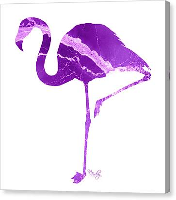 Canvas Print featuring the photograph Art Sea Flamingo In Purple by Micki Findlay