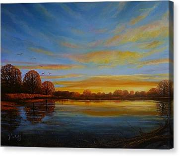 Autumn Sunrise. Canvas Print by Janet Silkoff