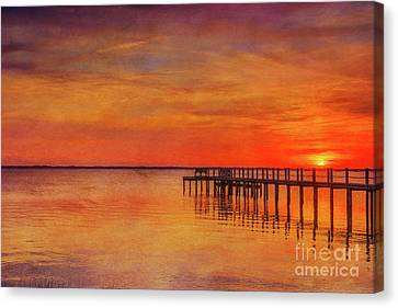 Beach Sunset Outer Banks Eleven With Texture Canvas Print