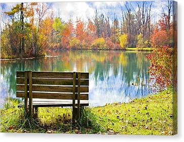 Bench By The Pond Canvas Print