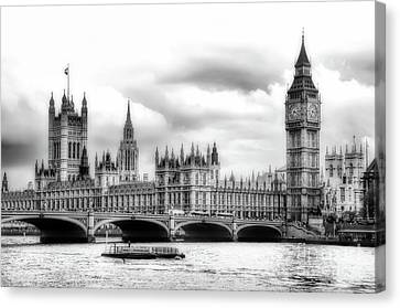 Big Clock In London Soft Canvas Print