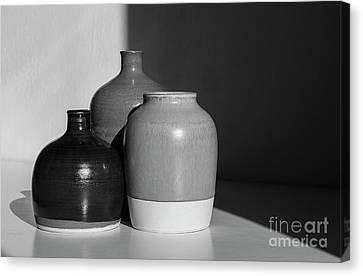 Black And White - Still Life With Three Ceramic Jars  Canvas Print