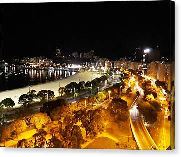 Botafogo Bay By Night Canvas Print