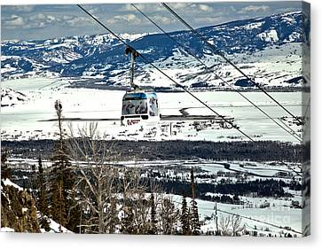 CHAIR LIFT SHADOWS ON SNOW SKIING MOUNTAINS CANVAS PRINT WALL ART PICTURE PHOTO