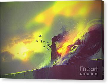 Burning Woman Standing Against Cloudy Canvas Print by Tithi Luadthong