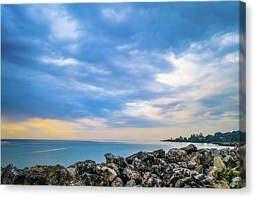 Cloudy City Coastline Canvas Print