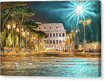 Colosseum In Night To Rome Canvas Print