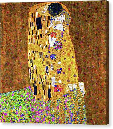 Contemporary Kiss Dedication To Klimt Canvas Print