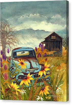 Country Blues - Dusty Blue Old Chevy Pick Up Truck Canvas Print