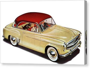 Couple In Car With Scotty Dog Canvas Print by Graphicaartis
