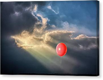 Crepuscular Red Balloon Canvas Print