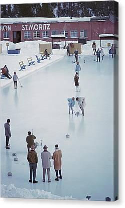 Curling At St. Moritz Canvas Print